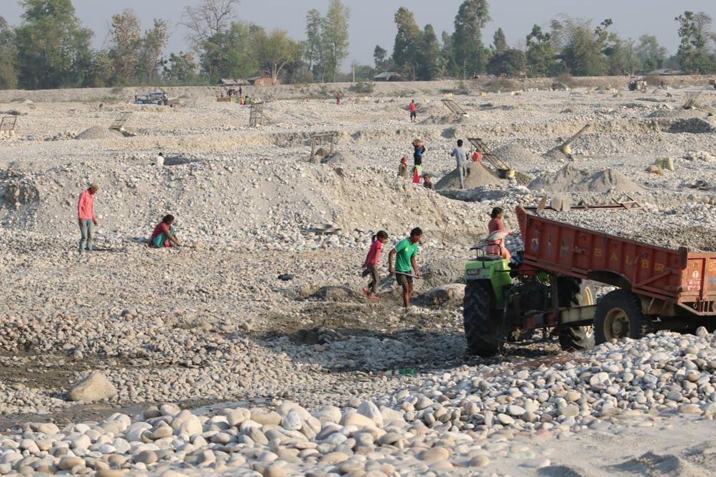 labourers in Nepal river