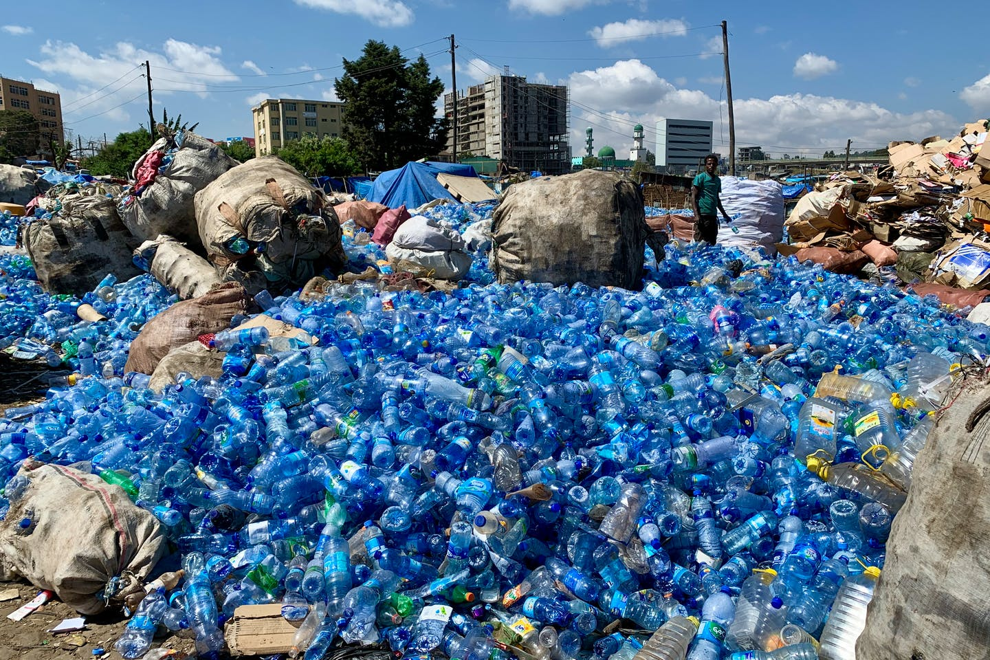 Plastic water bottles await collection for recycling in Africa.