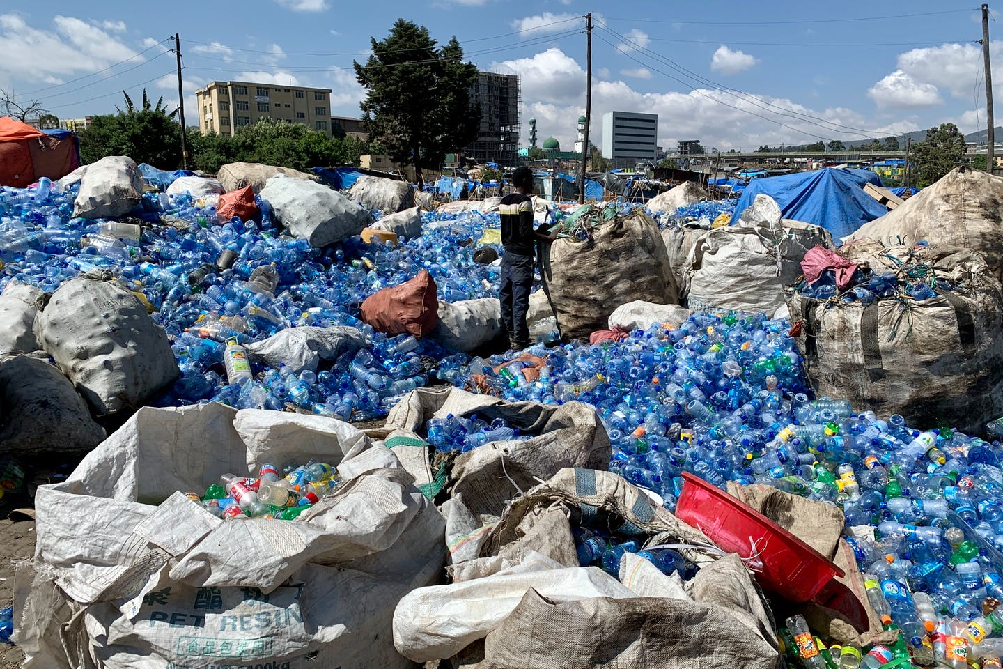 A pile of plastic collected in Adis Ababa, Ethiopia. Image: Robin Hicks/Eco-Business