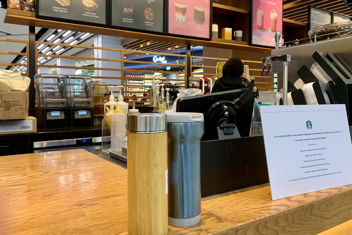 Reuseable drink containers at a Starbucks outlet in Singapore, where BYO is still allowed. Starbucks has banned BYO in some countries, but not in others. Image: Eco-Business