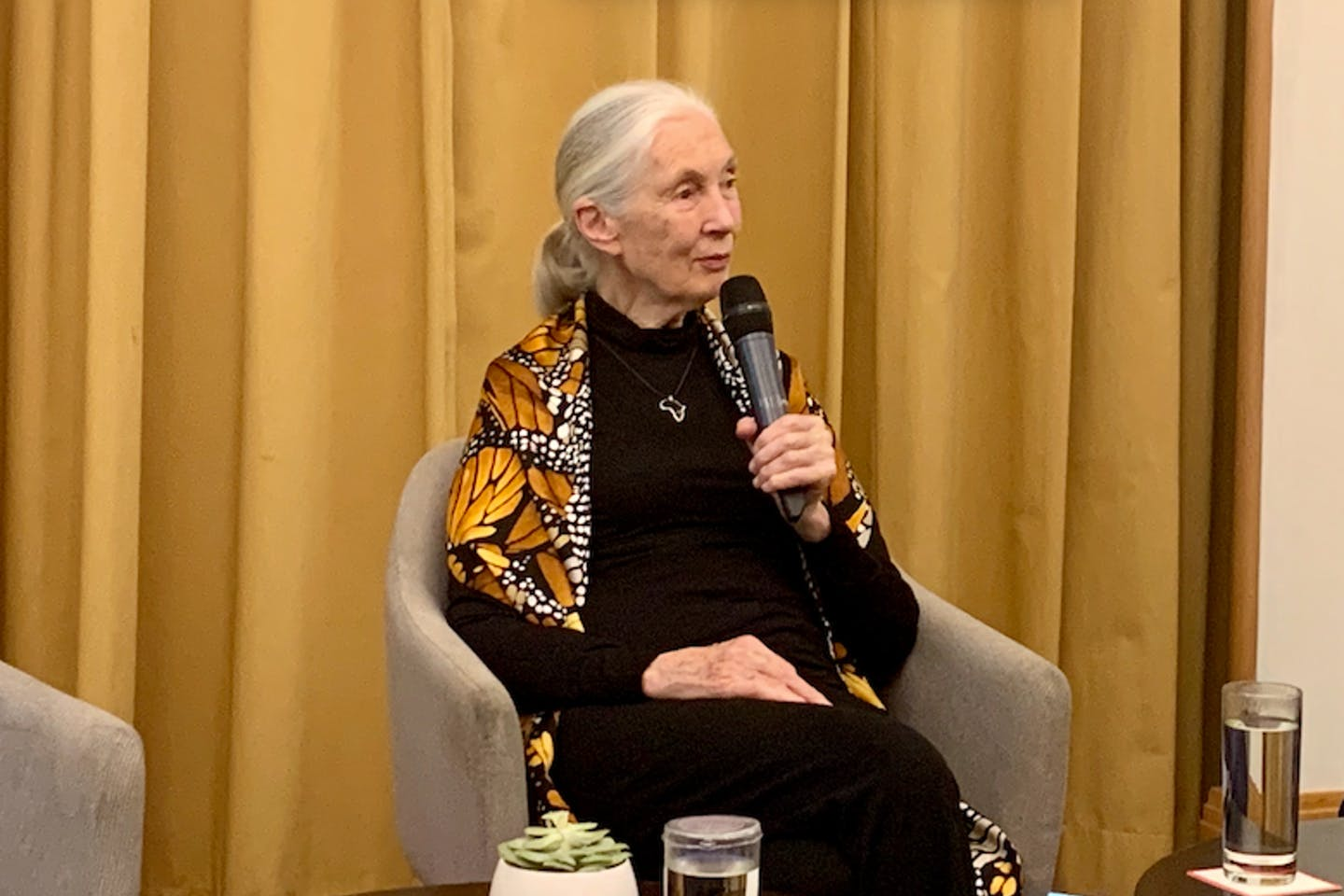 Dr Jane Goodall speaking at a press conference in Singapore. She said complaints from hotel customers would help to phase out shark's fin. Image: Eco-Business
