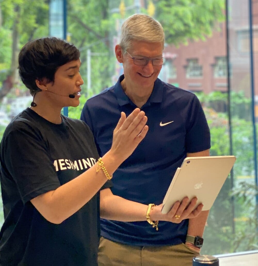 Kay & Tim Cook at the CleanSeas Campaign Exhibition at Apple