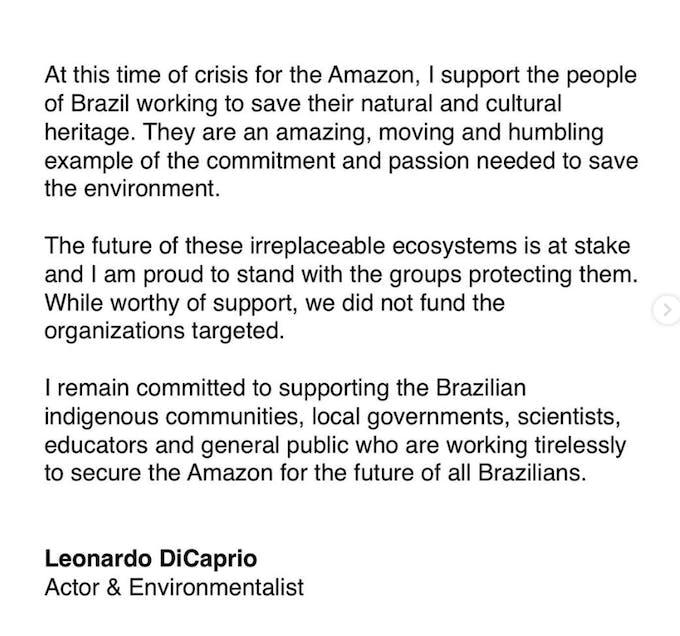 Actor Leonardo DiCaprio's response to Bolsonaro on Instagram