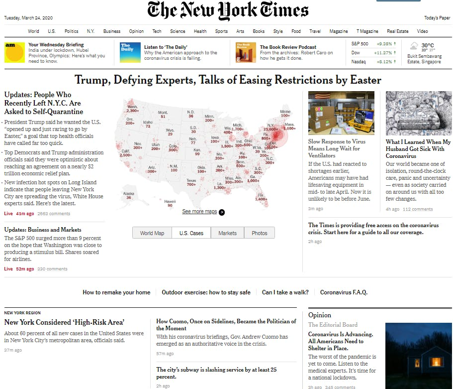 The homepage of nytimes.com on Wednesday 25 March.
