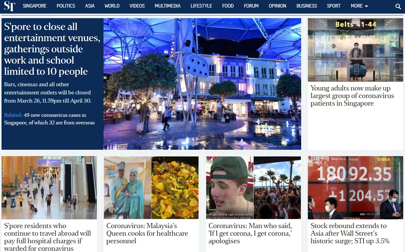 The homepage of The Straits Times' website on Wednesday 25 March. Image: straitstimes.com screengrab