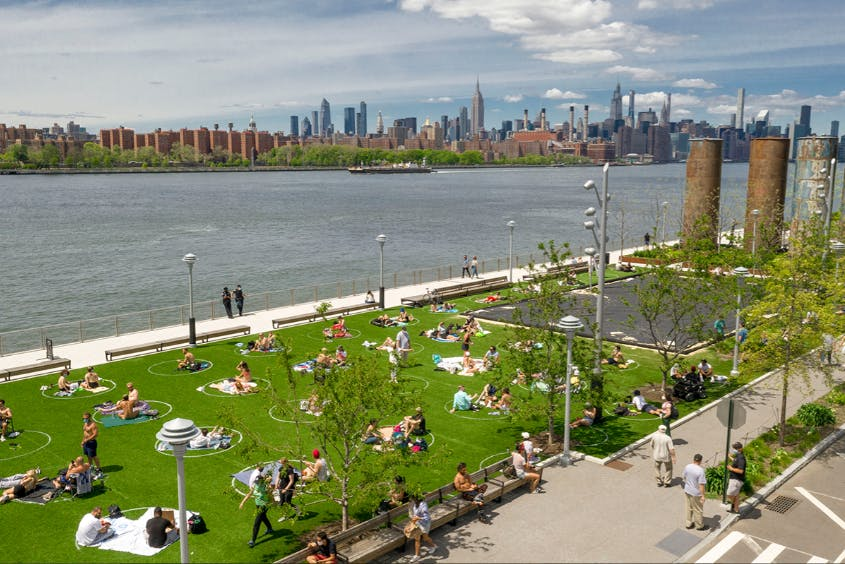 Social distancing circles in Domino Park, Brooklyn, United States. Image: Marcella Winograd/Wunderman Thompson