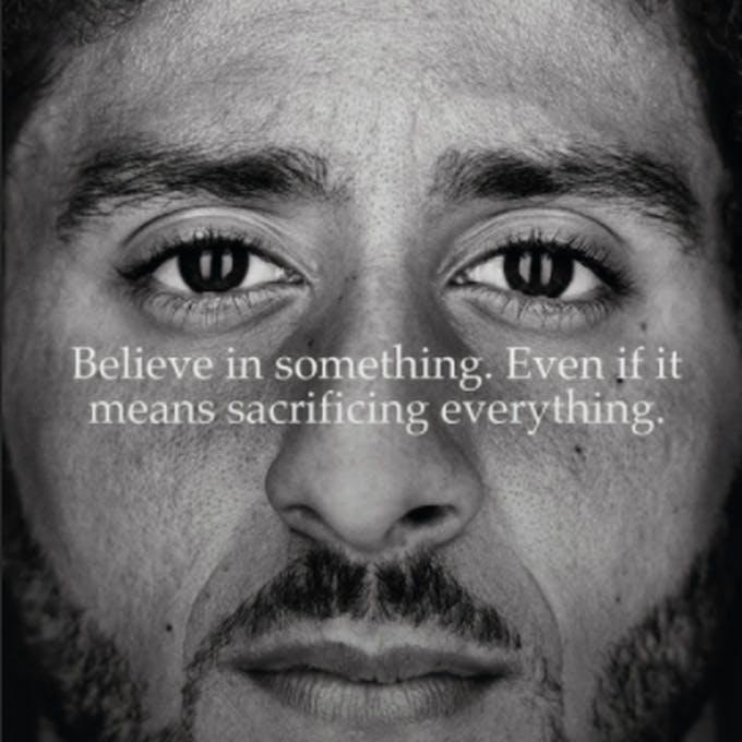 Nike's advertisement featuring American football player Colin Kaepernick