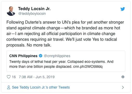 teddy locsin tweet ph climate talks