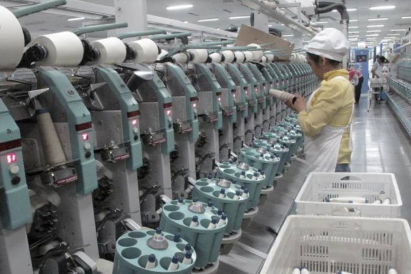 A worker at Youngor's cotton spinning factory in Aksu, Xinjiang Uighur Autonomous Region