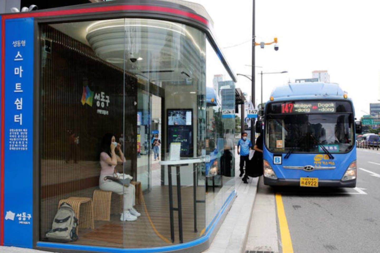 south korea post-covid bus stop