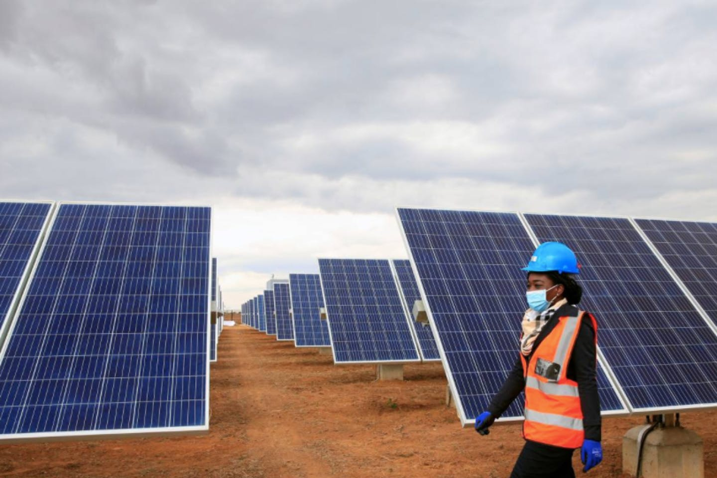 solar panels at Centragrid power plant in Nyabira, Zimbabwe