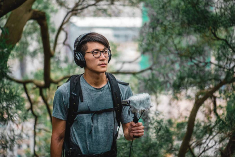 Hong Kong sound designer Kan Hei-chun records sounds in Garden Hill, Sham Shui Po district, Hong Kong