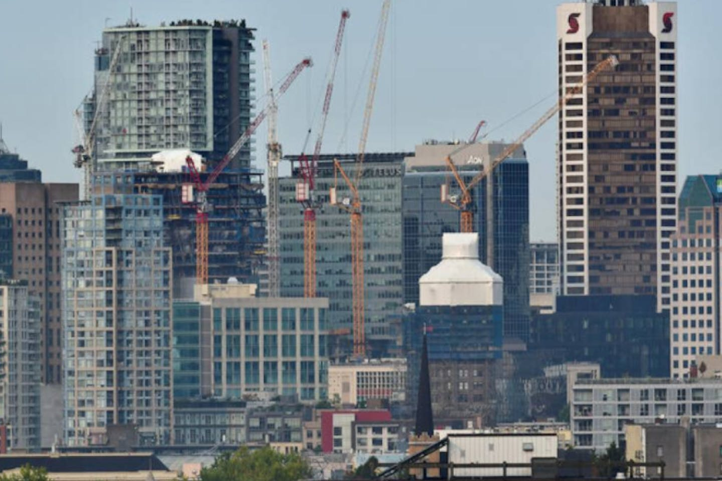 Condominium and office towers are seen under construction in Vancouver, British Columbia, Canada.