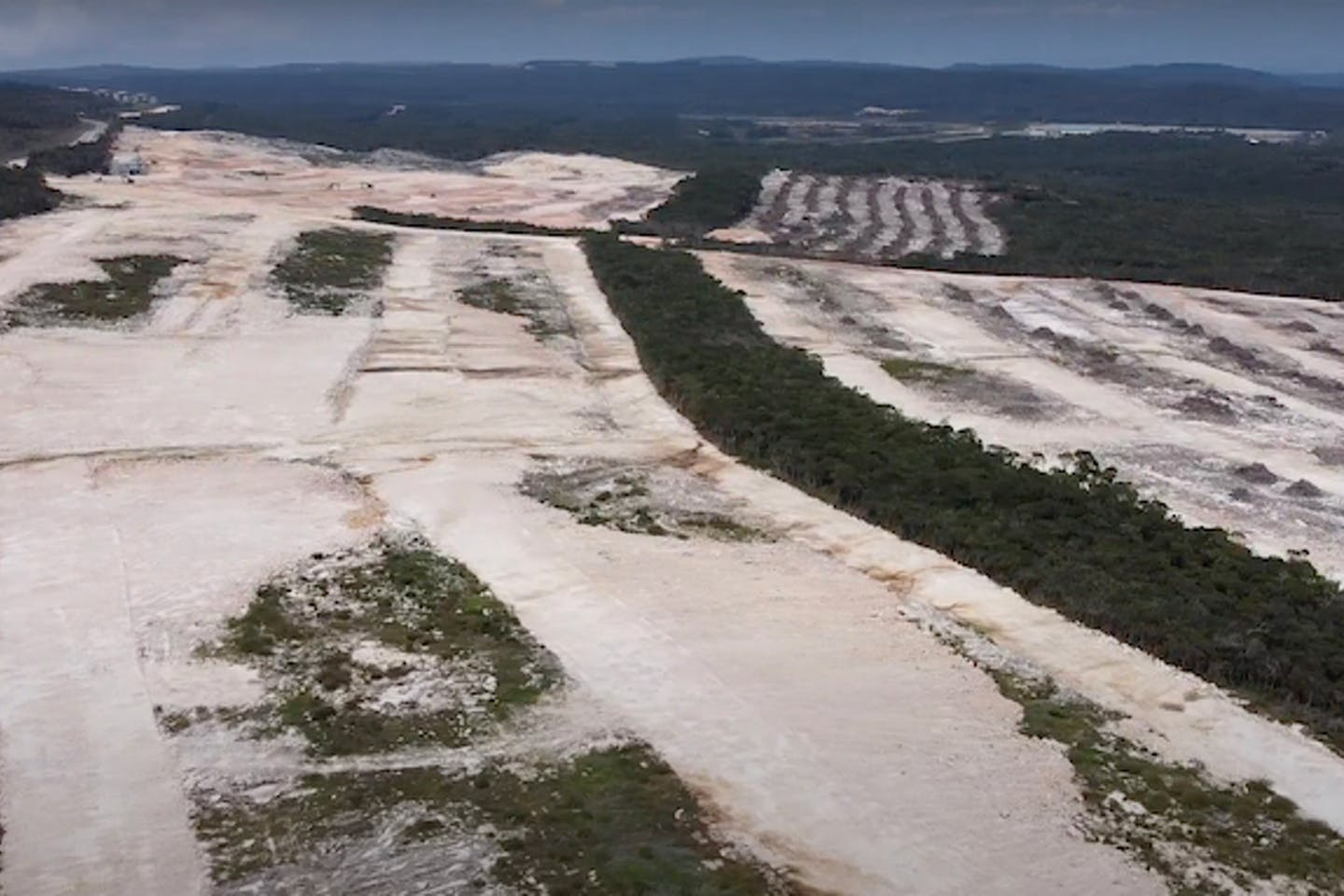Drone image of alleged clearing for luxury residential estates in Bokor National Park.
