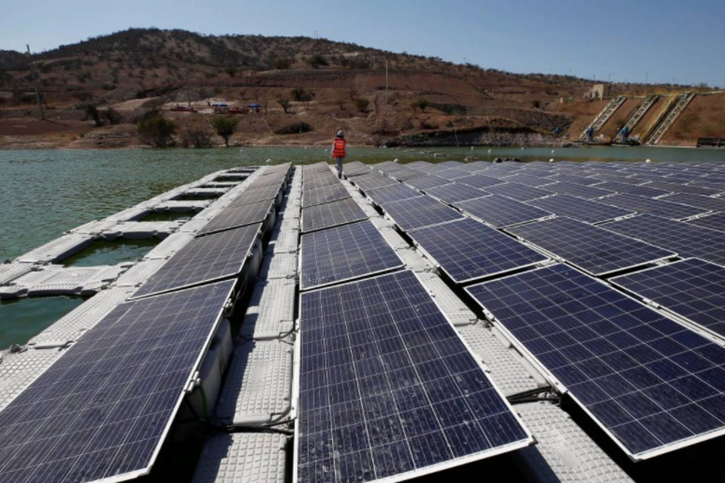 "world's first-ever ""island"" of solar panels Santiago, Chile"