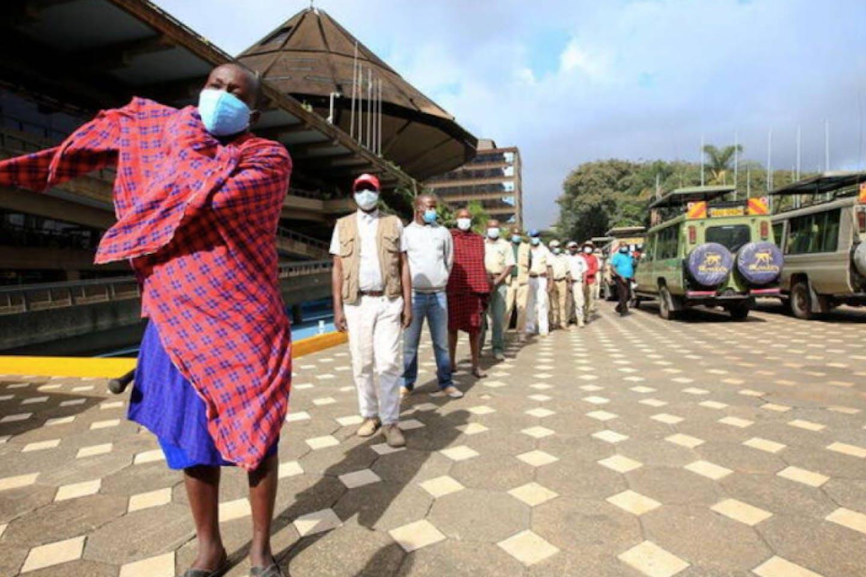 queue to receive the AstraZeneca/Oxford vaccine Kenya