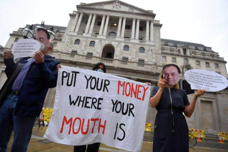 activists protest climate finance