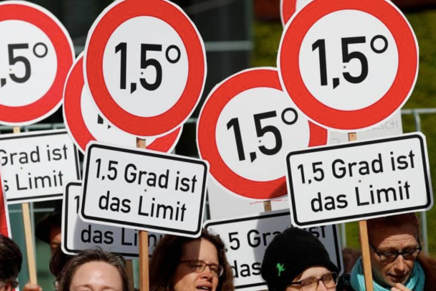 Environmental activists protest in support of German climate targets at the Chancellery in Berlin, Germany