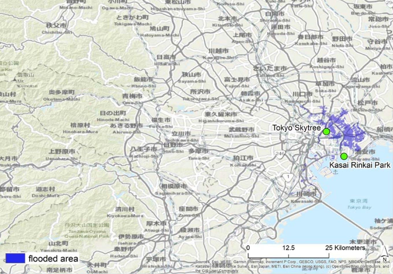 Flood risk parts of Tokyo