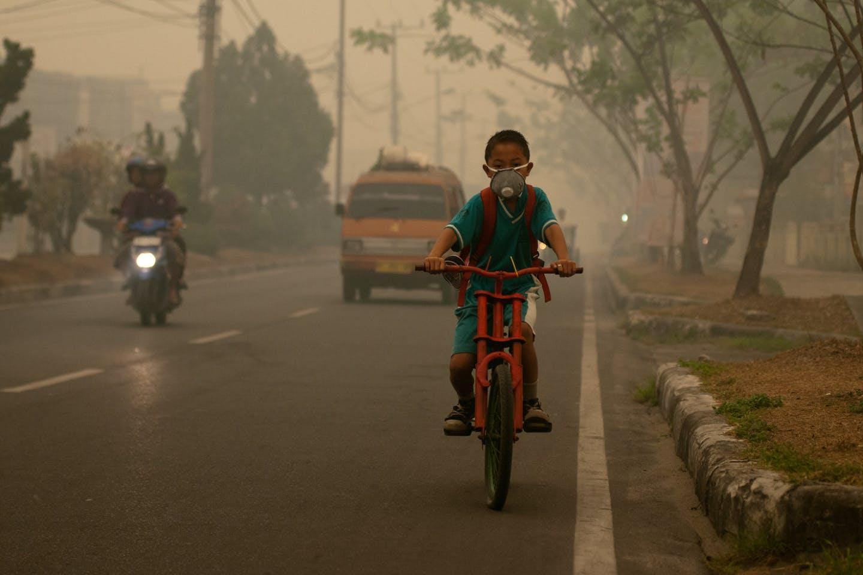 Cycling through haze in Indonesia