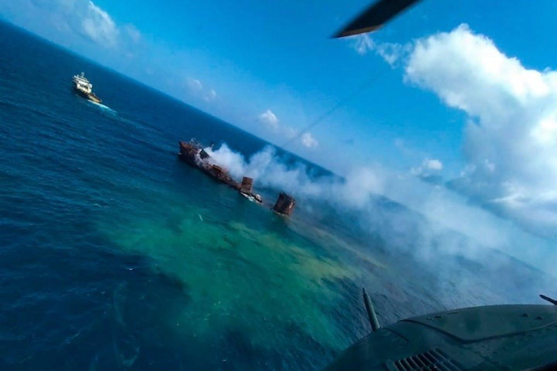 charred cargo ship X-Press Pearl Sri Lanka
