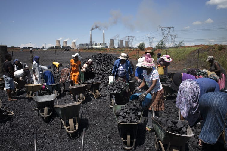 Women in South Africa fill wheelbarrows with free coal in 2015.