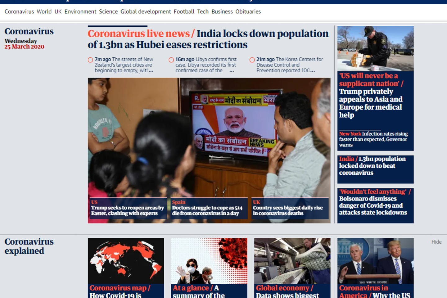 The homepage of TheGuardian.com, the world's most popular international website for sustainability news, is swamped with coverage of the coronavirus on Wednesday 25 March. Image: www.theguardian.com/international screengrab