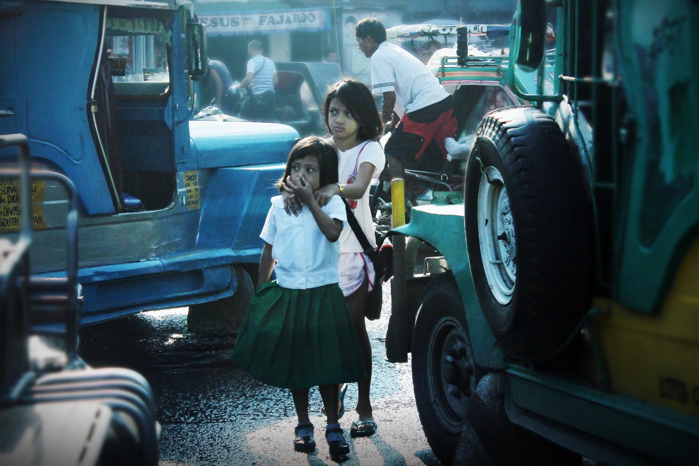 Children, Jeepneys, Philippines