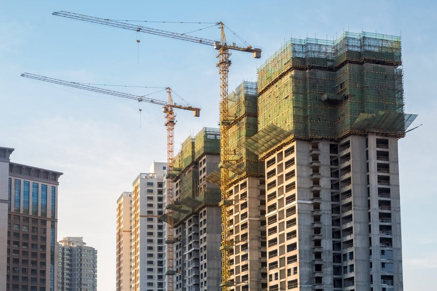 New buildings under construction in China