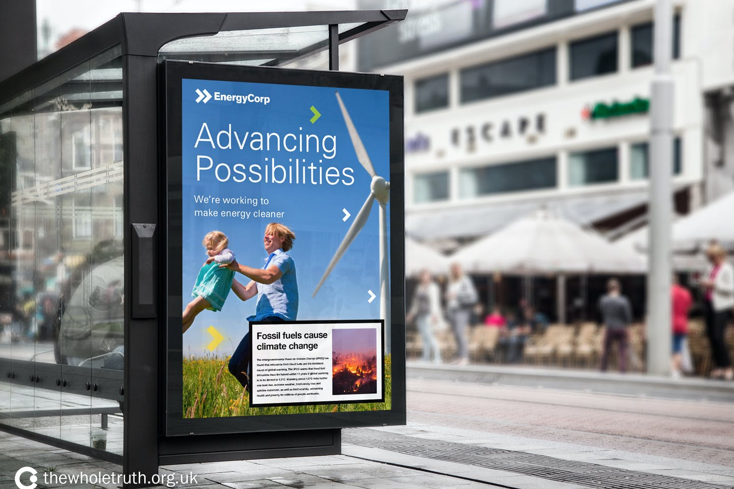 fossil fuel warning on greenwash ads