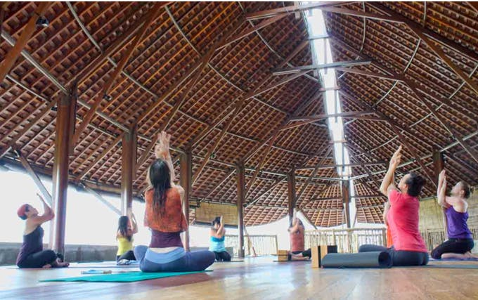 bali floating leaf yoga hall