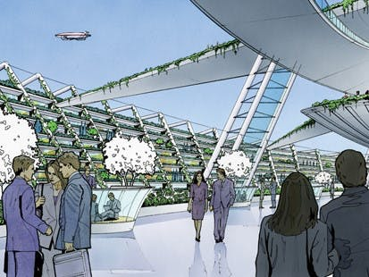 Artist's impression of the city in the sky