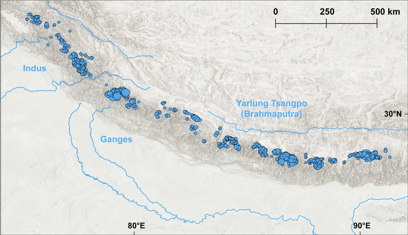 Overview of research sites in Himalayan range