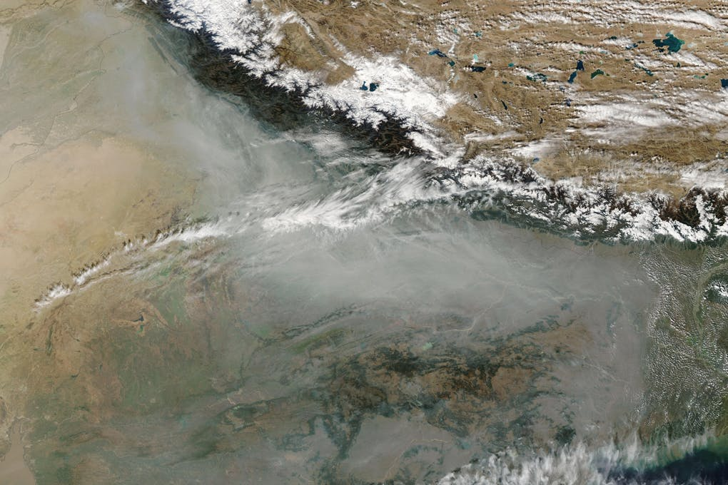 The blanket of pollutants over South Asia, as seen from the International Space Station [image by International Space Station]