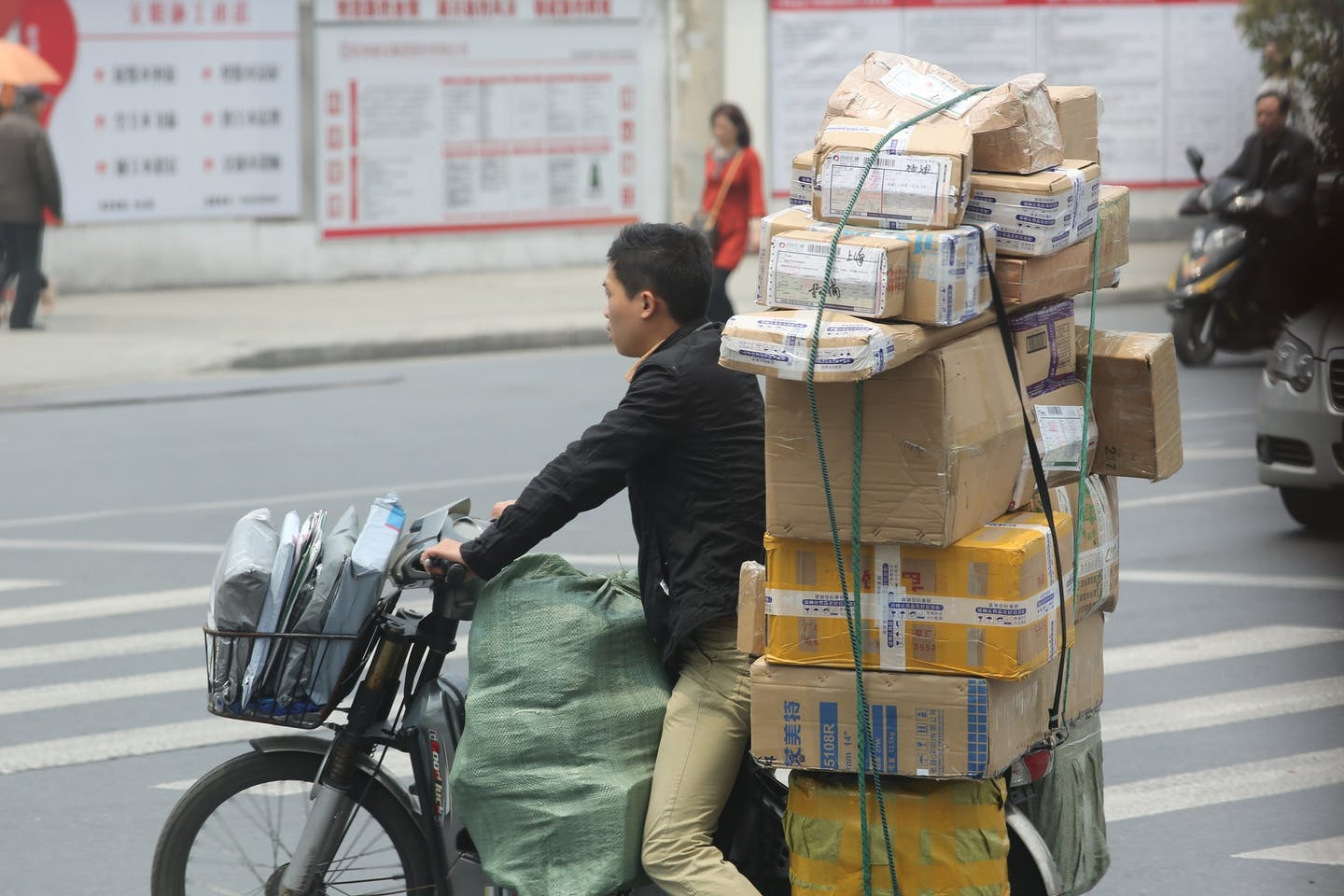 Packages for delivery in China