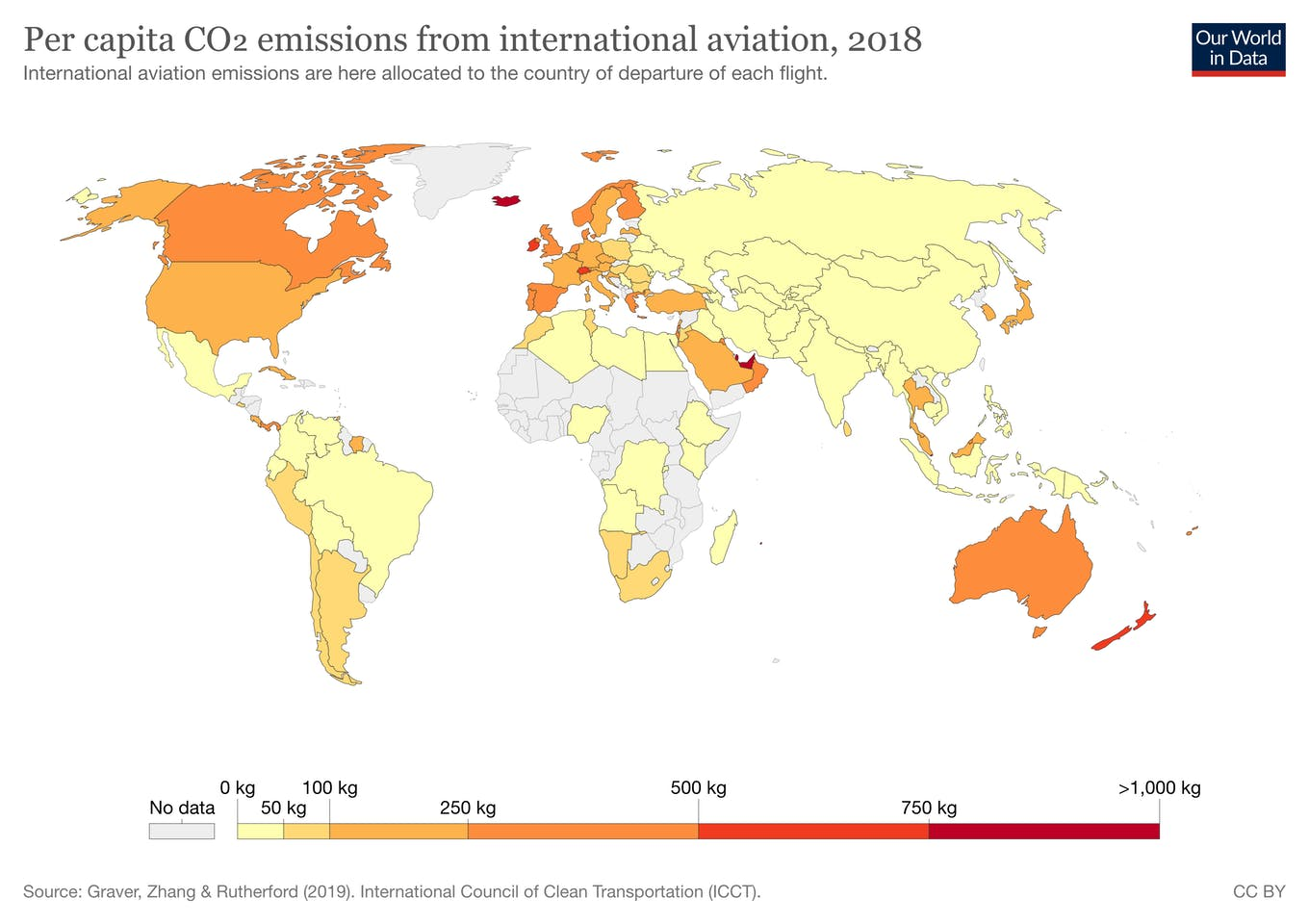 Per capital CO2 emissions from international aviation, 2018