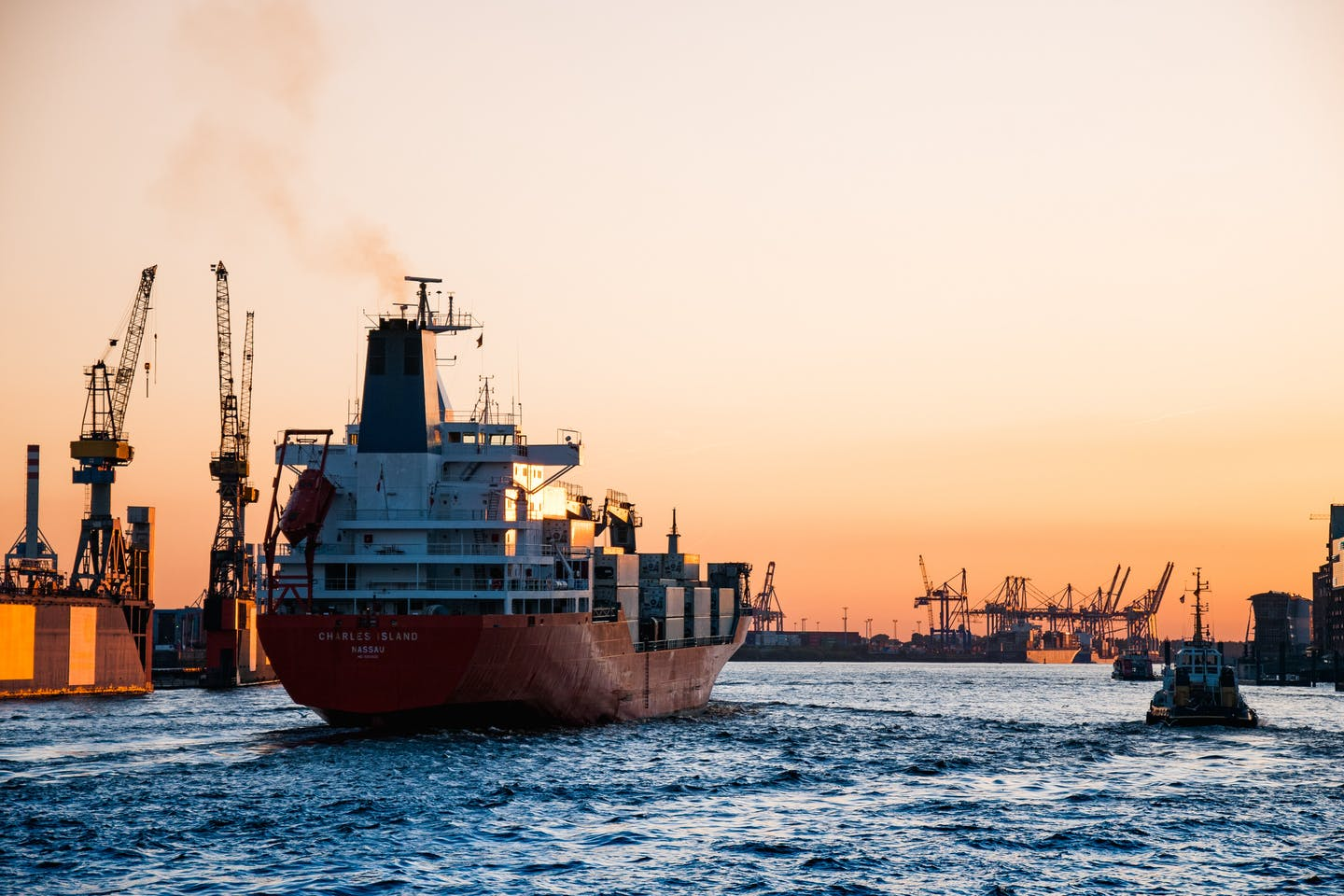 Shipping, sunset, Hamburg