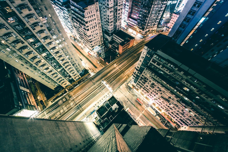 Top down view of Hong Kong's streets at night