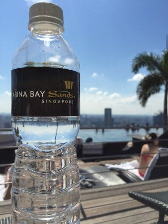 A Marina Bay Sands-branded plastic bottle of water. Image: Tripadvisor.co.nz