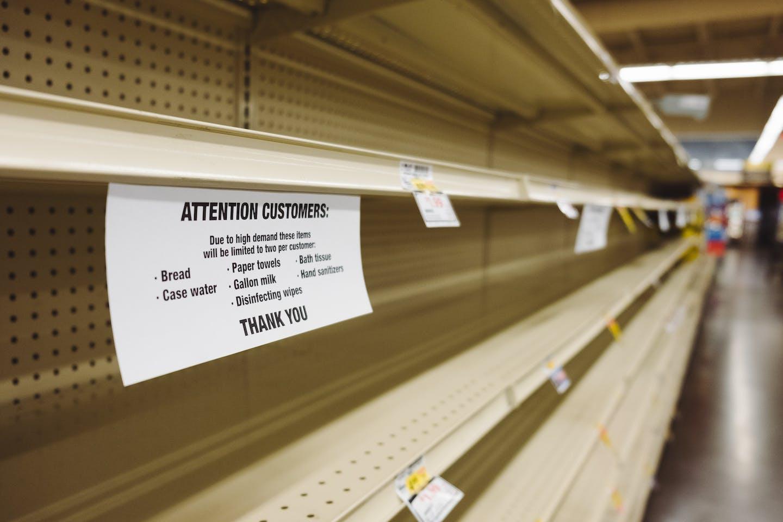 Empty shelves in a British supermarket