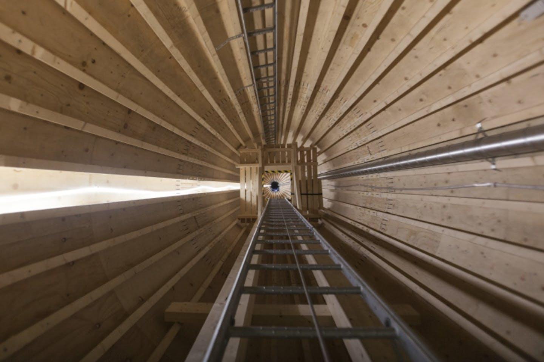 Inside the first wooden wind power turbine.
