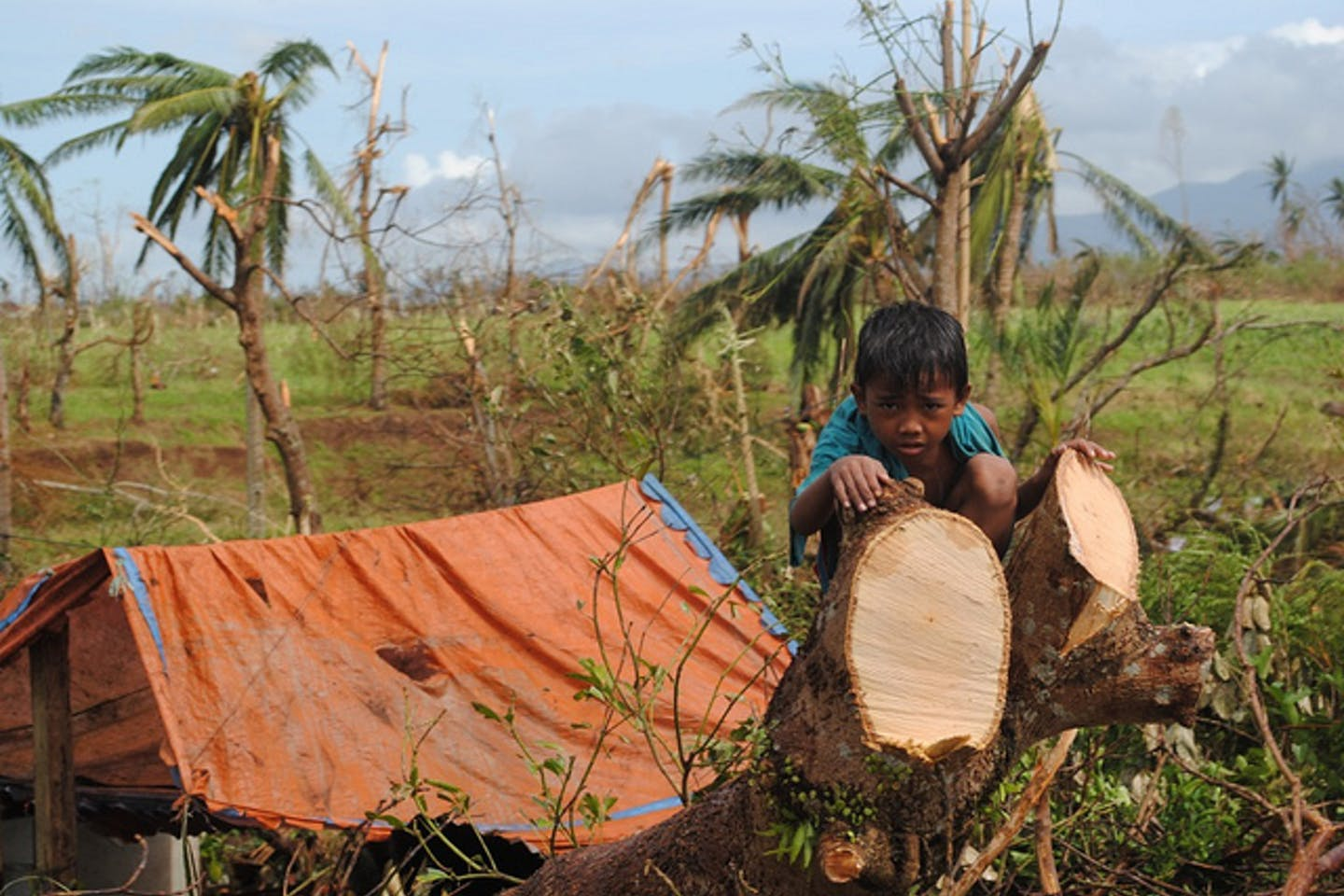 A child in Leyte Philippines, aftermath of Typhoon Haiyan