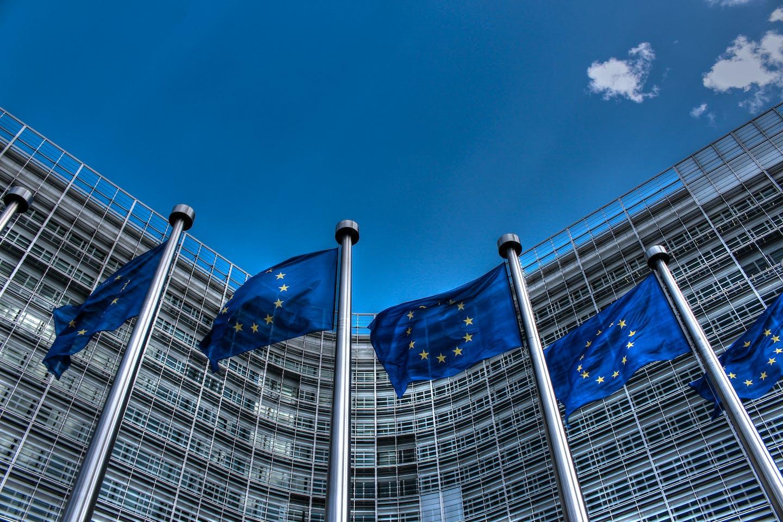 EU flags blue sky