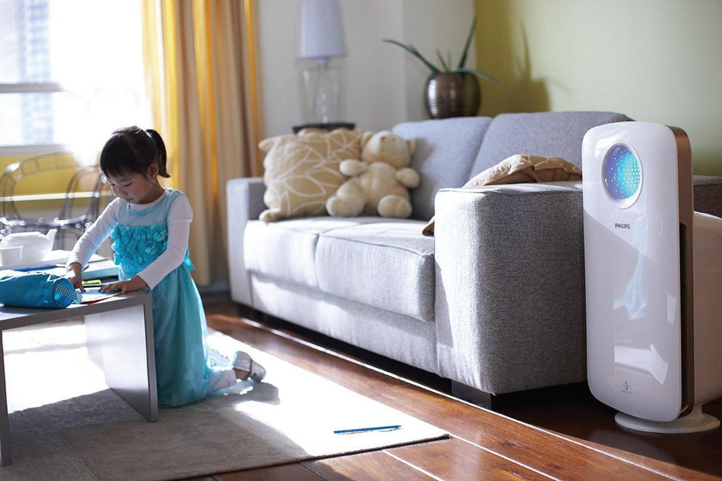 privileged child in a home with air purifier in china
