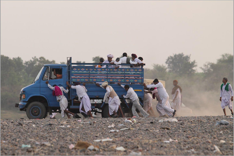 plastic strewn road in India