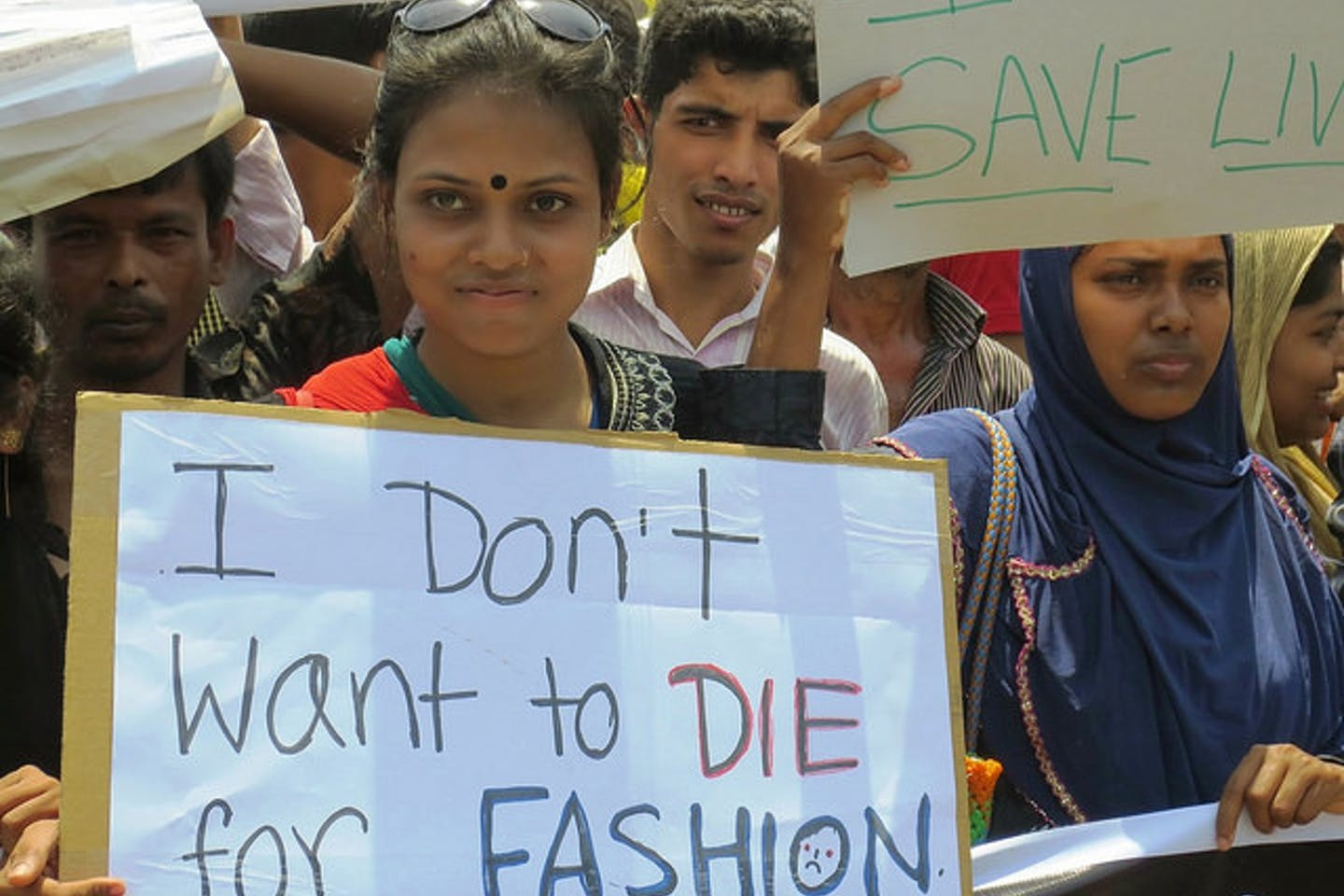 protesters on Rana Plaza anniversary