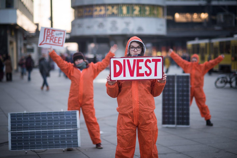 divest protestor in berlin
