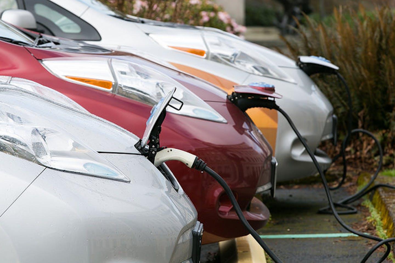 EVs charging on Washington State campus