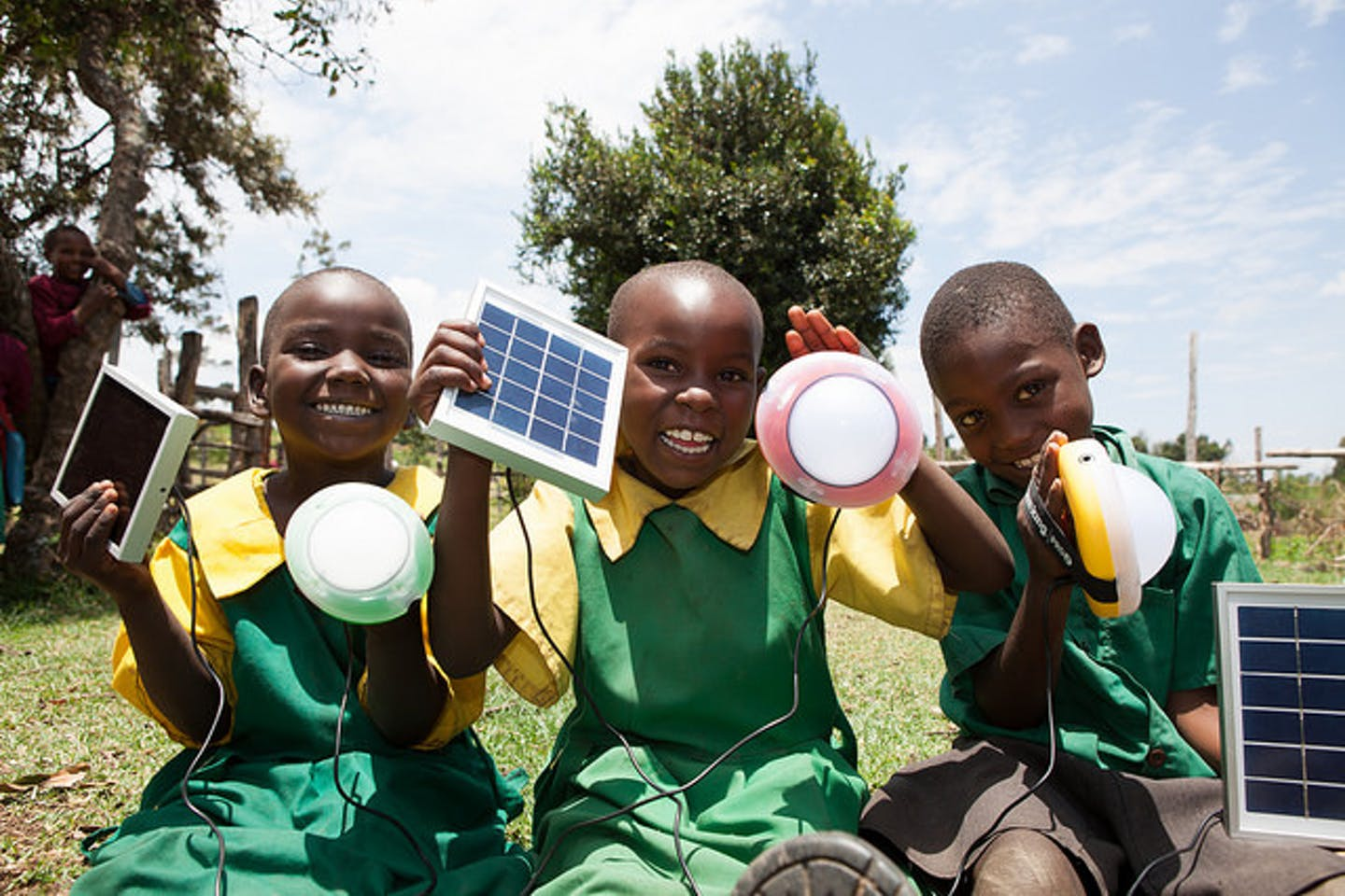 Kembu schoolkids with solar
