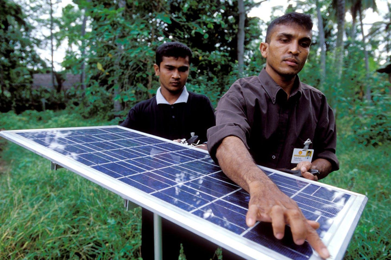 Solar panel on used for lighting village homes. Sri Lanka.